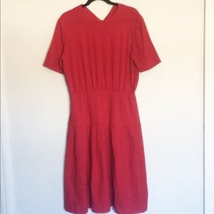 1950's vintage red wool fit and flare dress